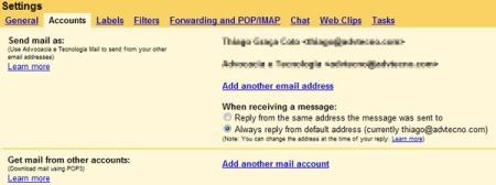 Envie e recebe emails de outras contas com o GMail